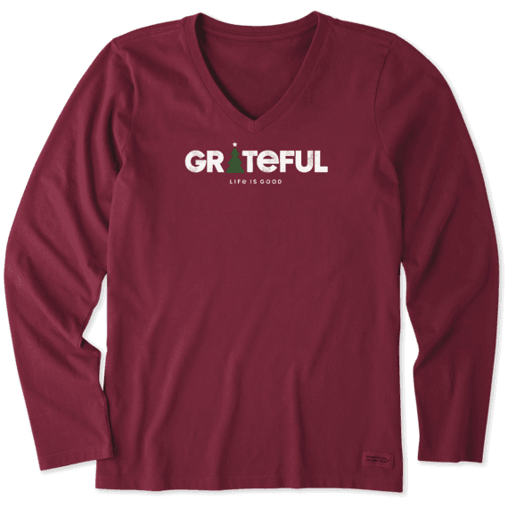 Women's Grateful Holiday Long Sleeve Crusher Vee