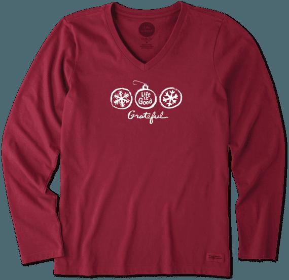 Women's Grateful Ornament Long Sleeve Crusher Vee