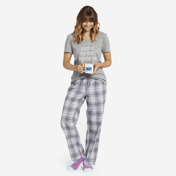 Women's Gray Grape Plaid Classic Sleep Pant