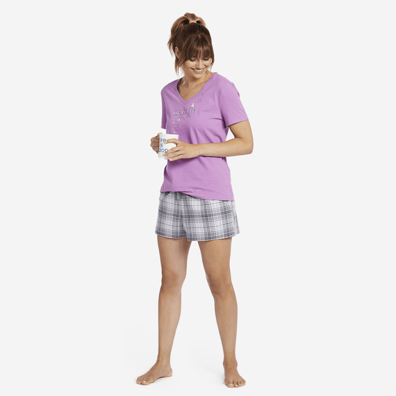 Women's Grey Grape Plaid Classic Sleep Boxer