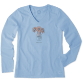 Women's Half Full Daisy Jar Long Sleeve Crusher Vee