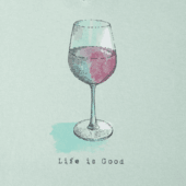 Women's Half Full Wine Glass Long Sleeve Crusher Vee