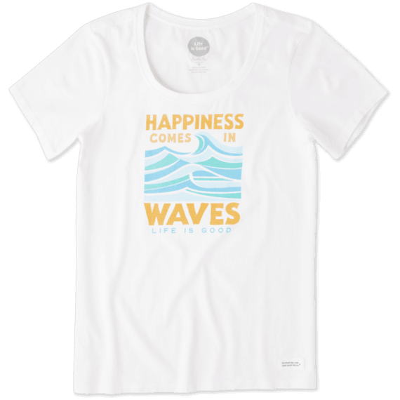 5816662bcd0 Sale Women s Happiness Comes In Waves Crusher Scoop Neck Tee ...