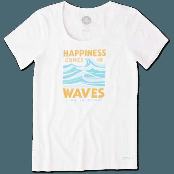 Women's Happiness Comes In Waves Crusher Scoop Neck Tee