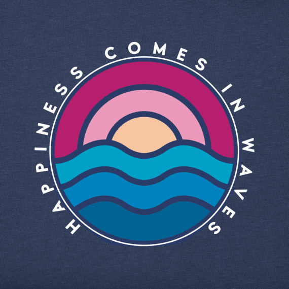 Women's Happiness Comes in Waves Long Sleeve Crusher Tee