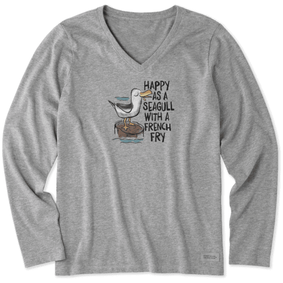 Women's Happy As A Seagull Long Sleeve Crusher Vee