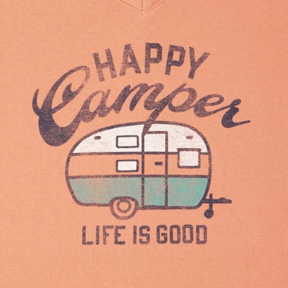 Women's Happy Camper Long Sleeve Crusher Vee