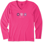 Women's Happy Daisies Long Sleeve Crusher Vee