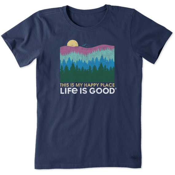 Women's Happy Place Trees Crusher Tee