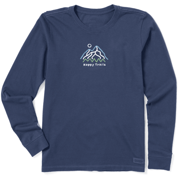 Women's Happy Trails Mountain Long Sleeve Vintage Crusher Tee