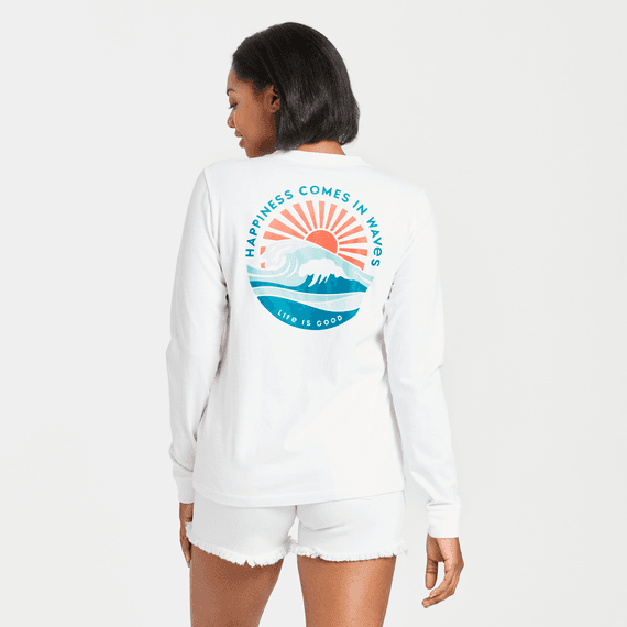 Women's Happy Waves Long Sleeve Crusher Tee