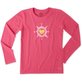 Women's Heart Compass Long Sleeve Crusher Tee