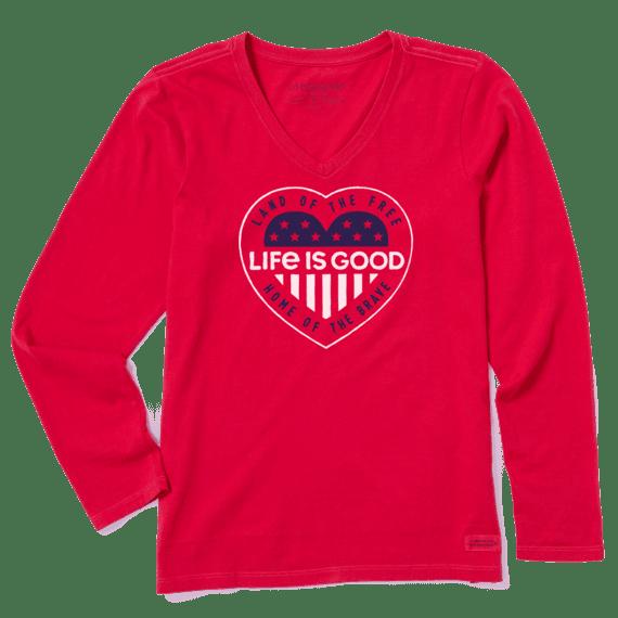 Women's Heart Flag Long Sleeve Crusher Vee