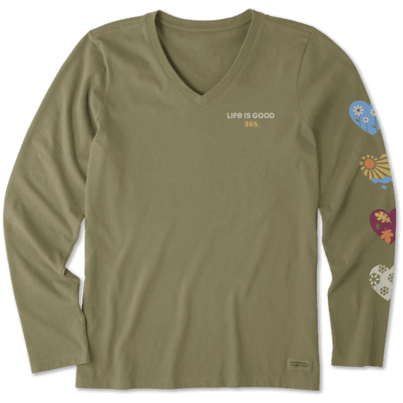 Women's Hearts Long Sleeve Crusher Vee