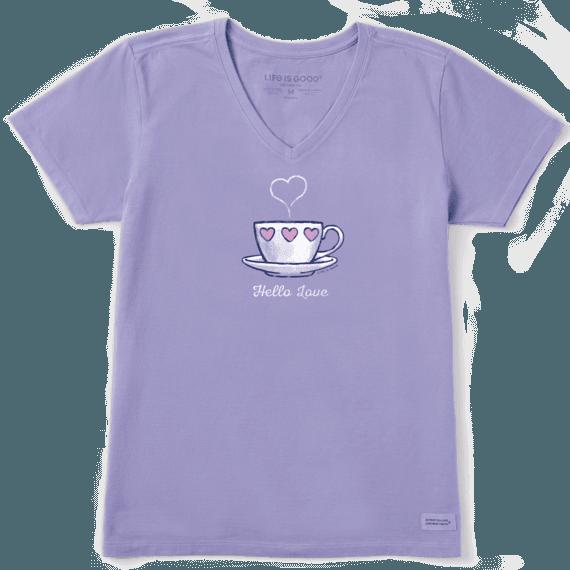 Women's Hello Love Teacup Crusher Vee