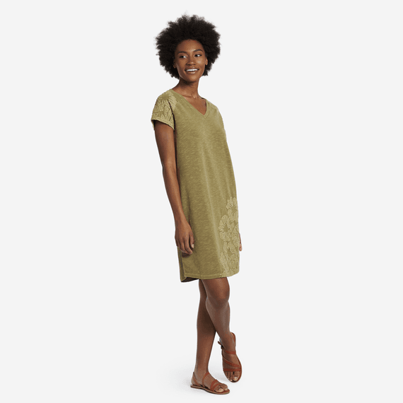 7405752a954 Women s Hibiscus Embroidery Slub Tee Dress ...