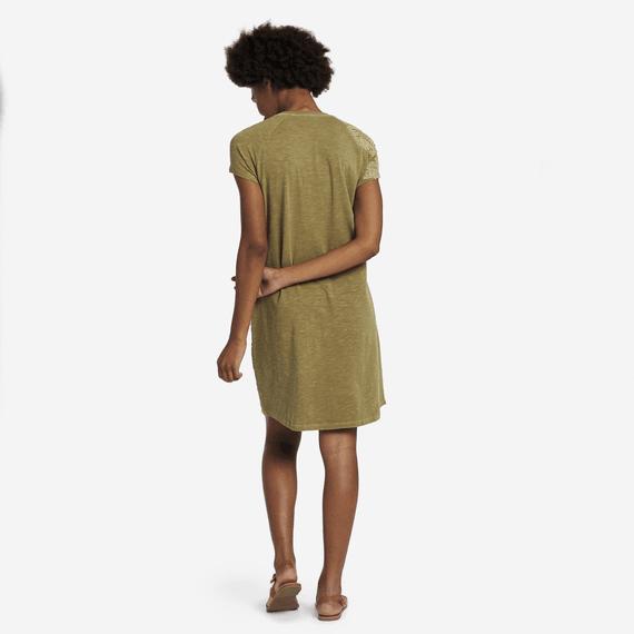 Women's Hibiscus Embroidery Slub Tee Dress