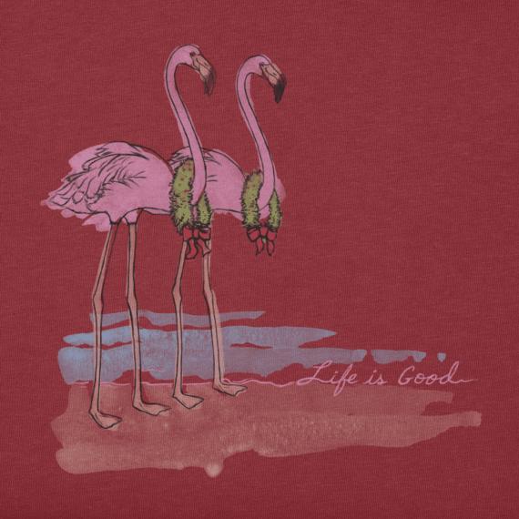 Women's Holiday Flamingo Long Sleeve Crusher Tee