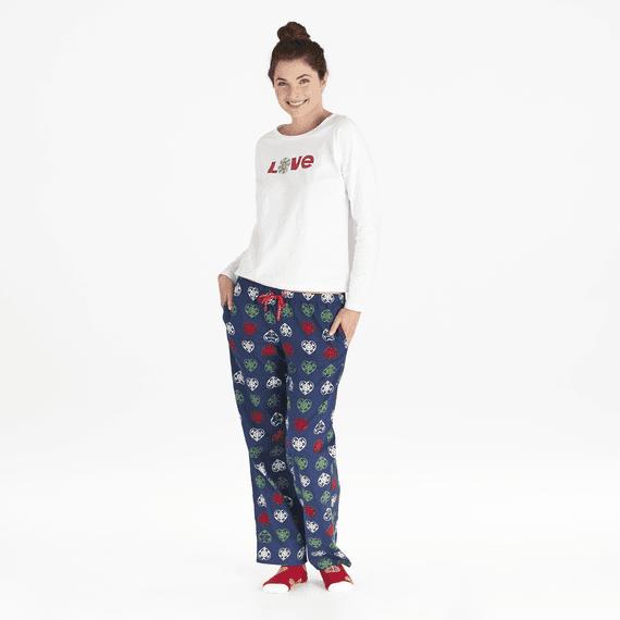 Women's Holiday Heart Snowflakes Classic Sleep Pant