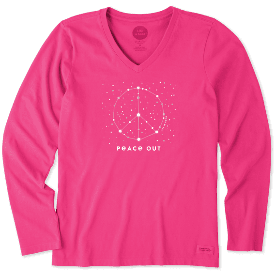Women's Holiday Peace Out Long Sleeve Crusher Vee