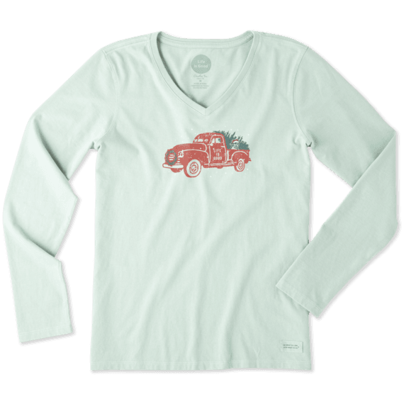 Women's Holiday Truck Long Sleeve Crusher Vee