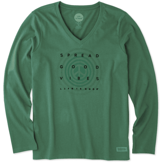 Women's Holiday Vibes Long Sleeve Crusher Vee