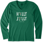 Women's Holly Jolly Long Sleeve Crusher Vee