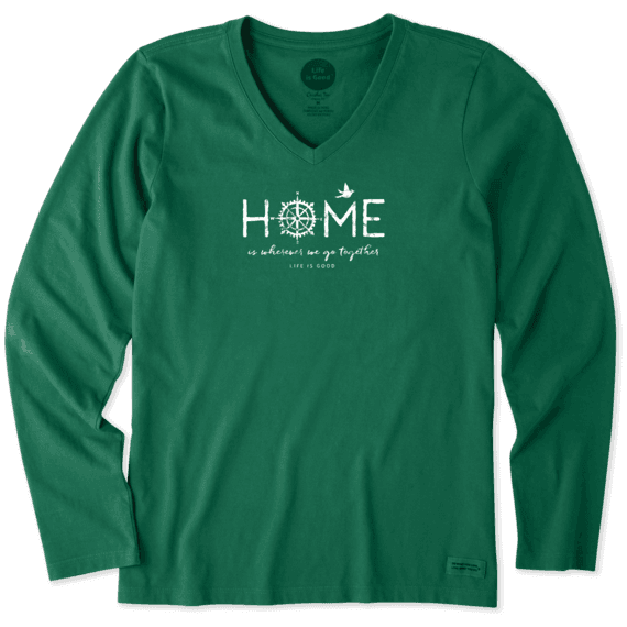 Women's Home Compass Long Sleeve Crusher Vee