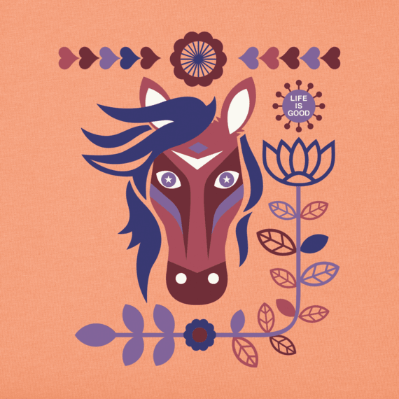 Women's Horses And Flowers Crusher Tee