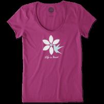 Women's Hummingbird Flower Smooth Scoop Tee