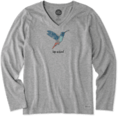 Women's Hummingbird Long Sleeve Crusher Vee