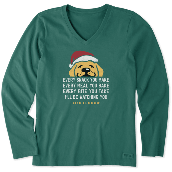 Women's I'll Be Watching You Santa Long Sleeve Crusher Vee