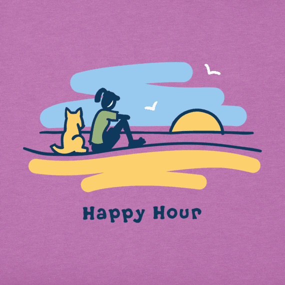 Women's Jackie And Rocket Happy Hour Beach Vista Vintage Crusher Tee