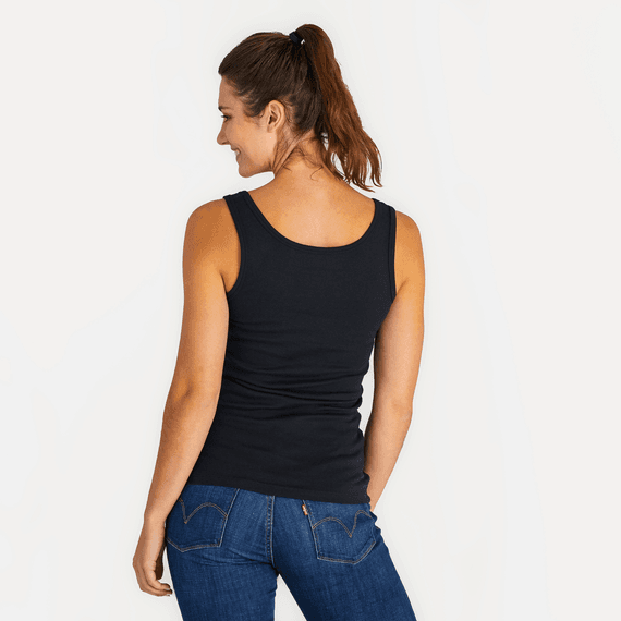 Women's Jet Black Soft & Simple Fitted Tank