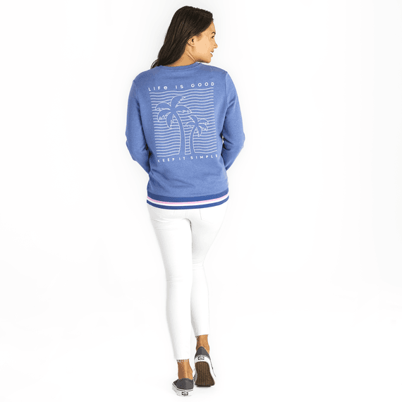 Women's Keep It Simple Palm Trees Simply True French Terry Crew