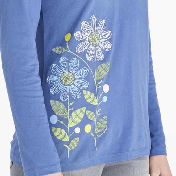 Women's LIG Flower Power Long Sleeve Crusher Vee