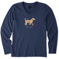 Women's Life Is Golden Long Sleeve Crusher Vee