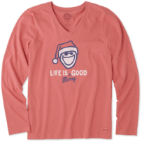 Women's Life Is Merry Good Long Sleeve Crusher Vee