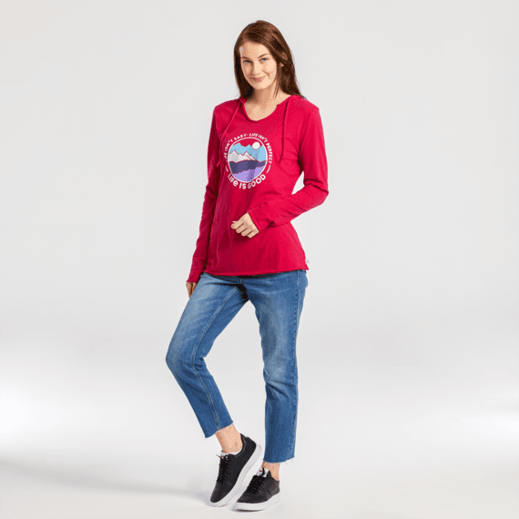 Women's Life Isn't Perfect Mountains Long Sleeve Hooded Smooth Tee