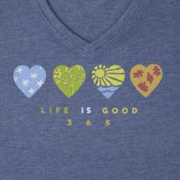 Women's Life is Good 365 Hearts Cool Vee