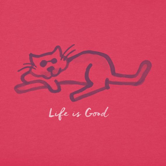 Women's Life is Good Cat Crusher Vee