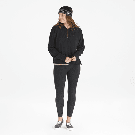 Women's Life is Good Raw French Terry Quarter Zip