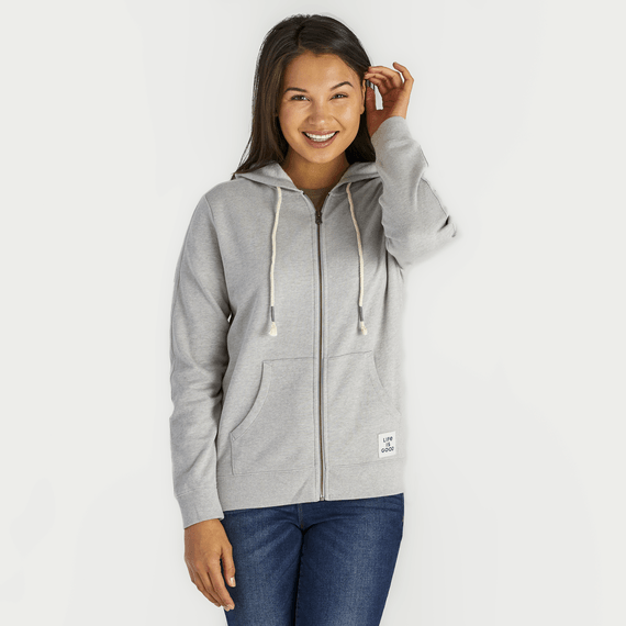 Women's Light Heather Gray Simply True Zip French Terry Hoodie