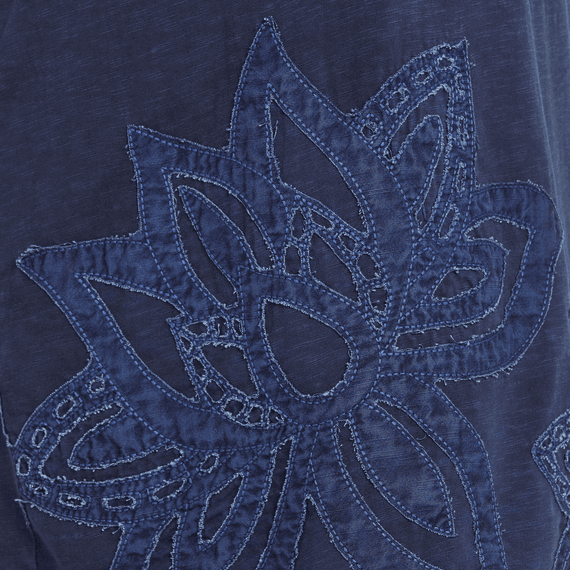Women's Lotus Embroidery Slub Tee Dress