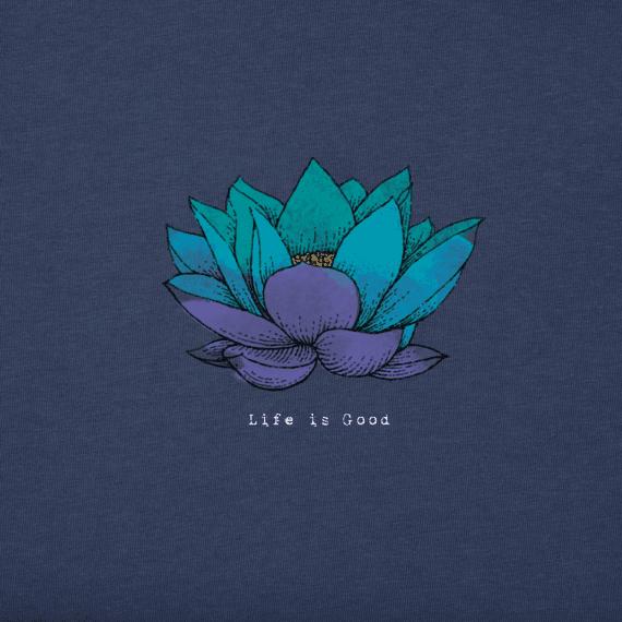 Women's Lotus Flower Engraved Long Sleeve Crusher Vee