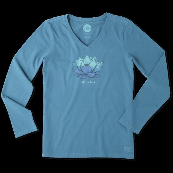 Women's Lotus Flower Long Sleeve Crusher Vee