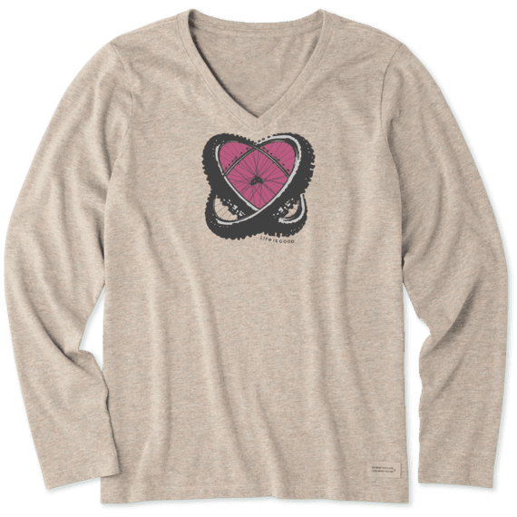 Women's Love Biking Long Sleeve Crusher Vee