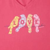Women's Love Birds Long Sleeve Crusher Vee