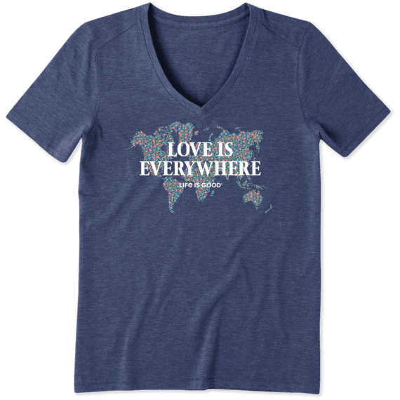 Women's Love Is Everywhere Map Cool Vee
