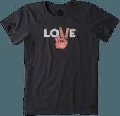 Women's Love Peace Hand Crusher Tee